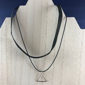 Jewelry - Double-Stranded Black Choker Necklace with Pendant